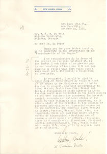 Letter from Carleton Beals to W. E. B. Du Bois