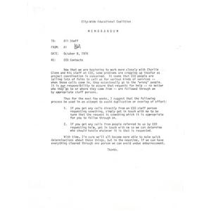 Staff Memo, EEO Contacts, October 8, 1976