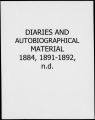 Diaries and autobiographical material 1884, 1891-1892, n.d. [Charles Duncan McIver Records]