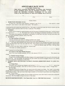 Adjustable Rate Note, Fannie Mae (FNMA)/Freddie Mac (FHLMC)