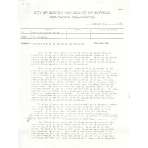 Memo, proposed office of metropolitan programs.