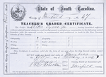 South Carolina Teacher's certificate for Albro Lyons, Jr