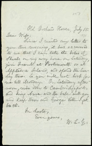 Letter from William Lloyd Garrison, Old Orchard House, [Maine], to Helen Eliza Garrison, July 15, [1875]