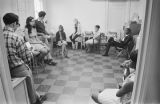 Staff meeting at the Southern Courier office in the Frank Leu Building in Montgomery, Alabama.