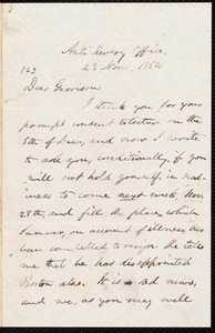 Letter from Oliver Johnson, [New York, N.Y. ?], to William Lloyd Garrison, 23 Nov[ember], 1854