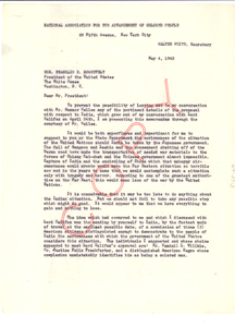 Letter from NAACP to President Franklin D. Roosevelt