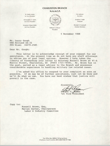 Letter from Dwight C. James to Larry Gough, November 5, 1988