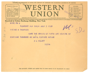 Telegram from Tuskegee Normal and Industrial Institute to Crisis