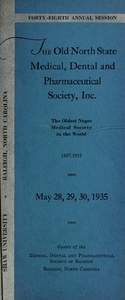 Program of the ... annual session of The Old North State Medical, Dental and Pharmaceutical Society [serial], 48th(1935)