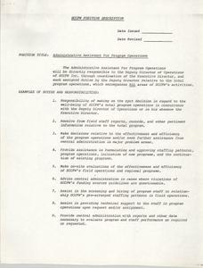 Administrative Assistant for Program Operations Position Description