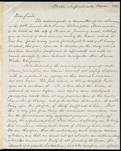Letter from Lydia Maria Child, Boston, Massachusetts, October 1861