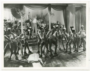 Print of Cab Calloway with his band and dancers onstage at the Cotton Club