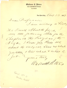 Letter from Madison C. Peters to W. E. B. Du Bois