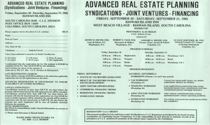 Advanced Real Estate Planning Syndications-Joint Ventures-Financing, Continuing Legal Education Seminar Pamphlet, September 20-21, 1985