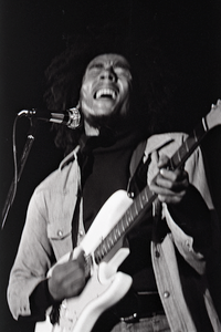 Bob Marley and the Wailers at Paul's Mall: Marley with guitar