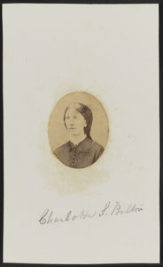 Albumen portrait of Charlotte S. Poulton mounted on paper