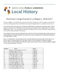 Historical Listing of Santa Cruz Mayors