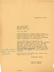 Letter from Hugh H. Smythe to NAACP Cornell Chapter