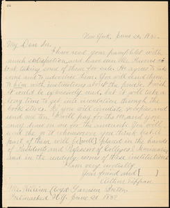 Letter from Arthus Tappan, New York, [New York], to William Lloyd Garrison, 1832 June 20