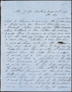 A. J. McElveen, [Sumter Court House, S.C.], autograph letter signed to Ziba B. Oakes, 13 August 1856