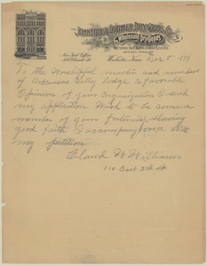 Letter from Claud W. Williams to Arkansas Valley Lodge, No. 21, 1898 December 5