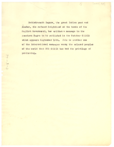 Announcement of Tagore statement in the Crisis
