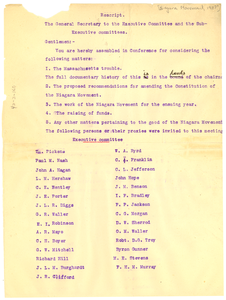 Letter from W. E. B. Du Bois to Niagara Movement Executive and Sub-executive committee