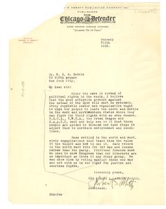 Letter from Robert S. Abbott to W. E. B. Du Bois