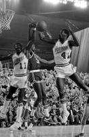 Basketball; Detroit Pistons vs. Boston Celtics. Larry Bird shooting