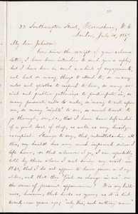 Letter from William Lloyd Garrison, 22 Southampton Street, Bloomsbury, W.C., London, [England], to Oliver Johnson, July 30, 1867