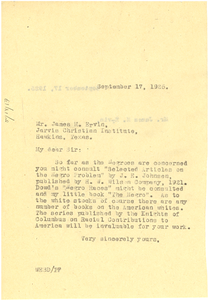 Letter from W. E. B. Du Bois to James M. Ervin