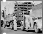 San Pedro, Calif. Apr. 1942. The last Redondo Beach residents of Japanese ancestry leaving by truck for relocation