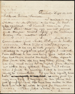 Letter from William Cooper Nell, Rochester, [N.Y.], to William Lloyd Garrison, Sept[ember] 15. 1851