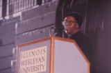 Gwendolyn Brooks was an American poet, author, and teacher, the first African American to win the Pulitzer prize. Brooks visited IWU five times between 1972 and 1999. Brooks speaking at the Shirk center for the Soul Food Dinner.
