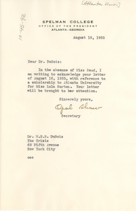 Letter from Spelman College to W. E. B. Du Bois