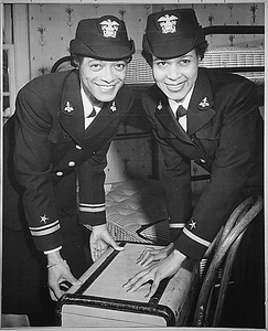 """""""Lt.(jg.) Harriet Ida Pickens and Ens. Frances Wills, first Negro Waves to be commissioned. They were members of the final graduating class at Naval Reserve Midshipmen's School (WR) Northampton, MA."""""""