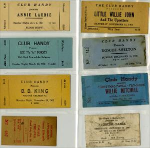 Beale Street and Club Handy Tickets, 1955-1962