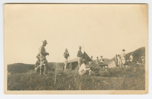 Photographic postcard of Charles Wilbur Rogan with his unit in the Philippines