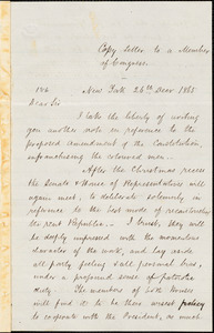 Letter from John Birney, New York, [New York], to a member of Congress, 1865 Dec[ember] 26th
