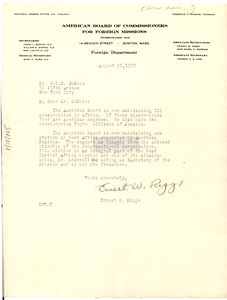 Letter from American Board of Commissioners for Foreign Missions to W. E. B. Du Bois