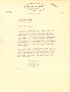 Letter from Wiley College to W. E. B. Du Bois