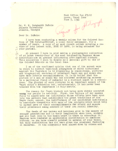 Letter from G. W. Westerman to W. E. B. Du Bois