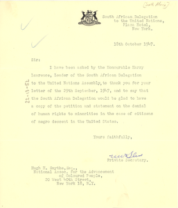 Letter from South African Delegation to the United Nations to Hugh H. Smythe