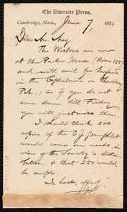Letter from Francis Jackson Garrison, Cambridge, Mass., to Samuel May, June 7, 1887