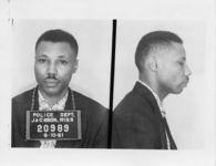 Mississippi State Sovereignty Commission photograph of Lewell A. Woods, Jr. [sic] following his arrest for his participation in the Freedom Rides, Jackson, Mississippi, 1961 June 10