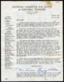 Letter signed by Eleanor Roosevelt from the National Committee for Justice in Columbia