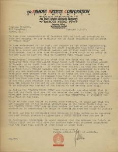 Letter: Philadelphia, Pennsylvania to Douglass Theatre, Macon, Georgia, 1927 Jan. 3
