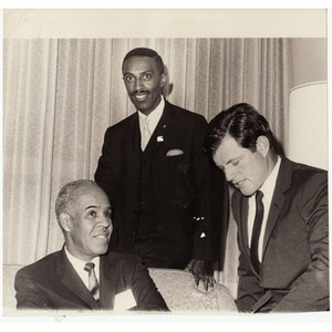 Reverend Michael E. Haynes, Senator Edward M. Kennedy, and unidentified male.