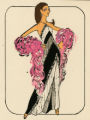 Costume design drawing, showgirl in a black and white evening gown with magenta feather boa, Las Vegas, June 5, 1980