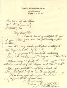 Letter from Oscar E. Saffold to W. E. B. Du Bois